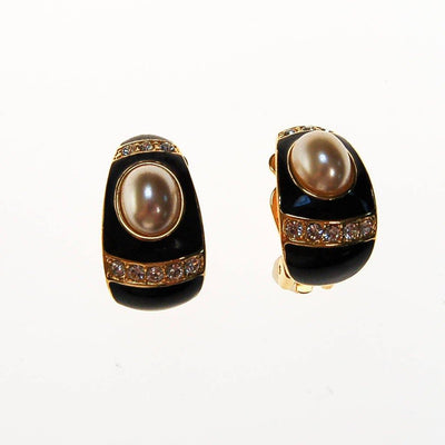 Joan Rivers Gold, Black Enamel, Rhinestone, Faux Pearl Earrings by Joan Rivers - Vintage Meet Modern - Chicago, Illinois
