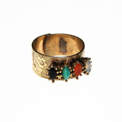 Vogue Renaissance Revival Wide Band Adjustable Ring with Faux Jade, Onyx, Carnelia, and Opaline by Vogue - Vintage Meet Modern Vintage Jewelry - Chicago, Illinois - #oldhollywoodglamour #vintagemeetmodern #designervintage #jewelrybox #antiquejewelry #vintagejewelry