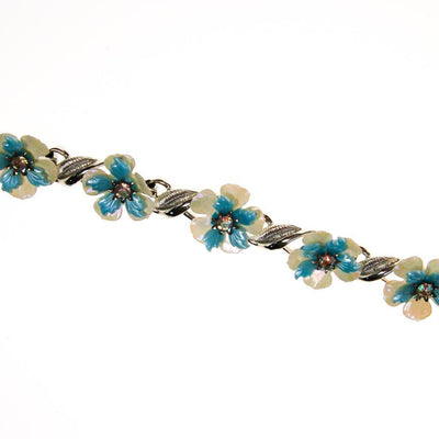 Coro White and Blue Flower Bracelet with Rhinestones by Coro - Vintage Meet Modern Vintage Jewelry - Chicago, Illinois - #oldhollywoodglamour #vintagemeetmodern #designervintage #jewelrybox #antiquejewelry #vintagejewelry