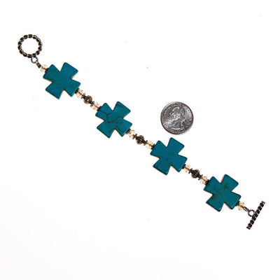 Turquoise Howlite Cross, Crystal and Silver Bead Bracelet by One of a Kind - Vintage Meet Modern Vintage Jewelry - Chicago, Illinois - #oldhollywoodglamour #vintagemeetmodern #designervintage #jewelrybox #antiquejewelry #vintagejewelry