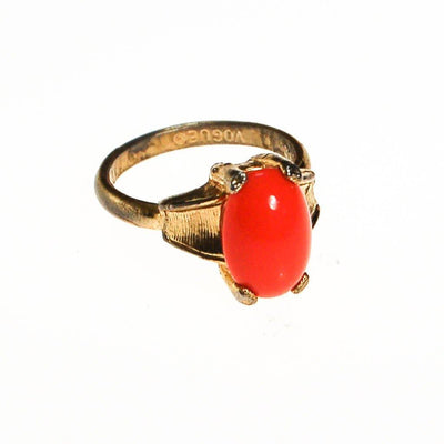 Vogue Vintage Coral Cabochon Statement Ring by Vogue - Vintage Meet Modern - Chicago, Illinois