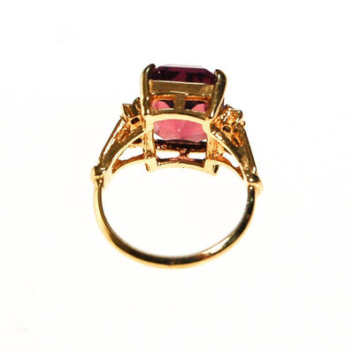 Amethyst CZ Cocktail Statement Ring, Emerald Cut, Gold Plated, CZ Accent Stones by unsigned - Vintage Meet Modern Vintage Jewelry - Chicago, Illinois - #oldhollywoodglamour #vintagemeetmodern #designervintage #jewelrybox #antiquejewelry #vintagejewelry