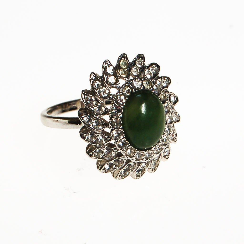 Huge CZ and Jade Cocktail Statement Ring, Cubic Zirconia
