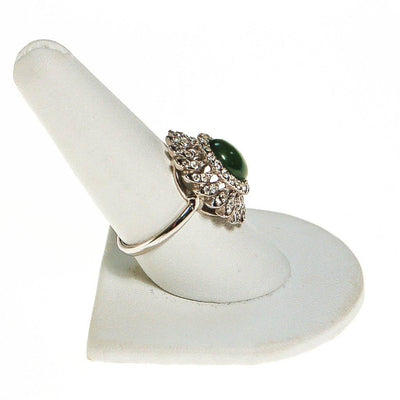 Huge CZ and Jade Cocktail Statement Ring, Cubic Zirconia by unsigned - Vintage Meet Modern - Chicago, Illinois
