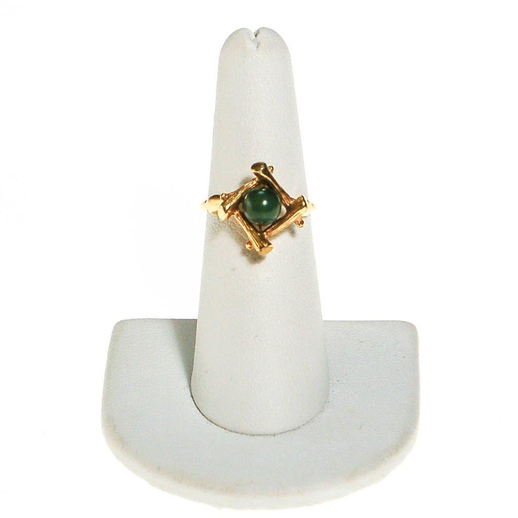 Jade Ring with Gold Bamboo Setting