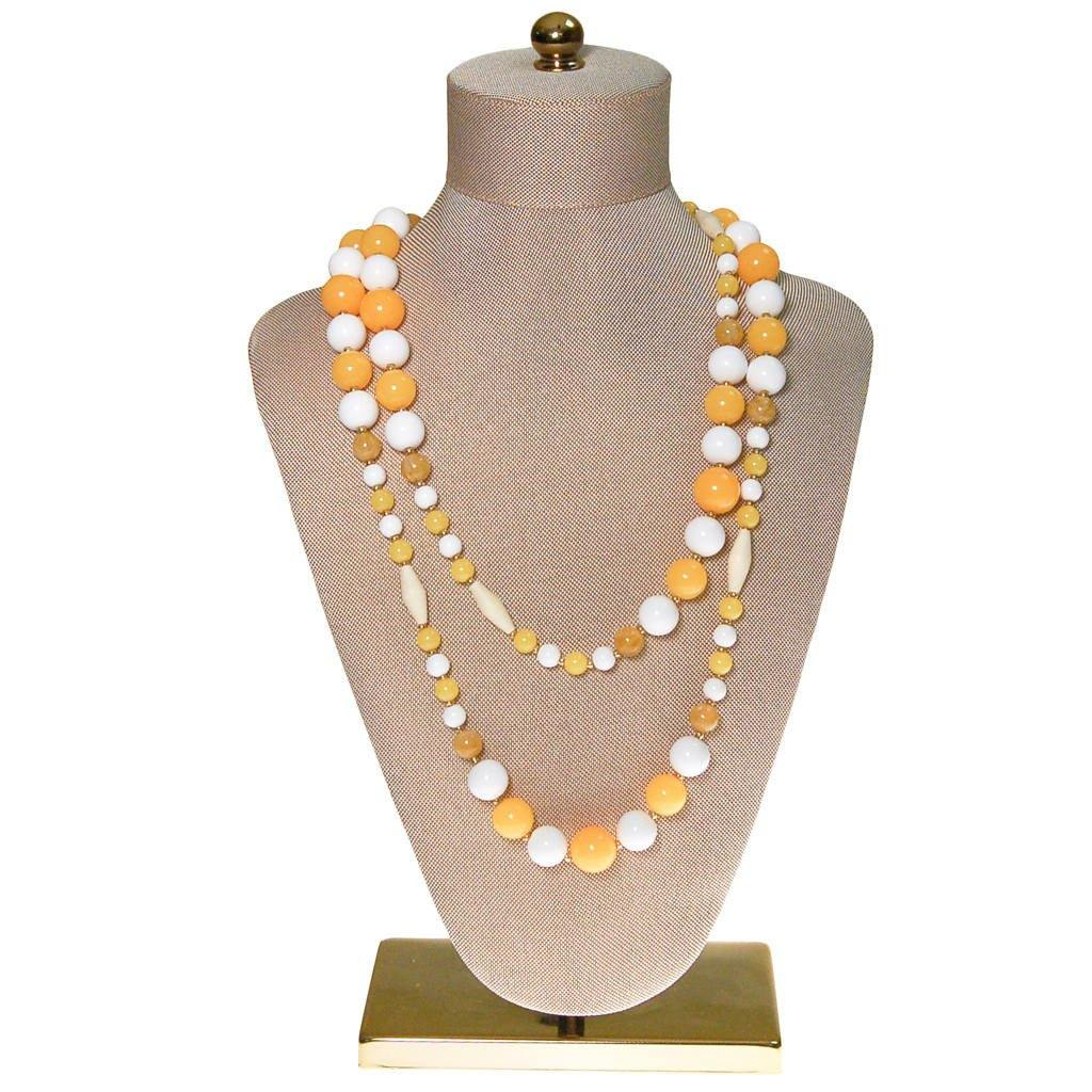 Joan Rivers Yellow and White Beaded Necklace
