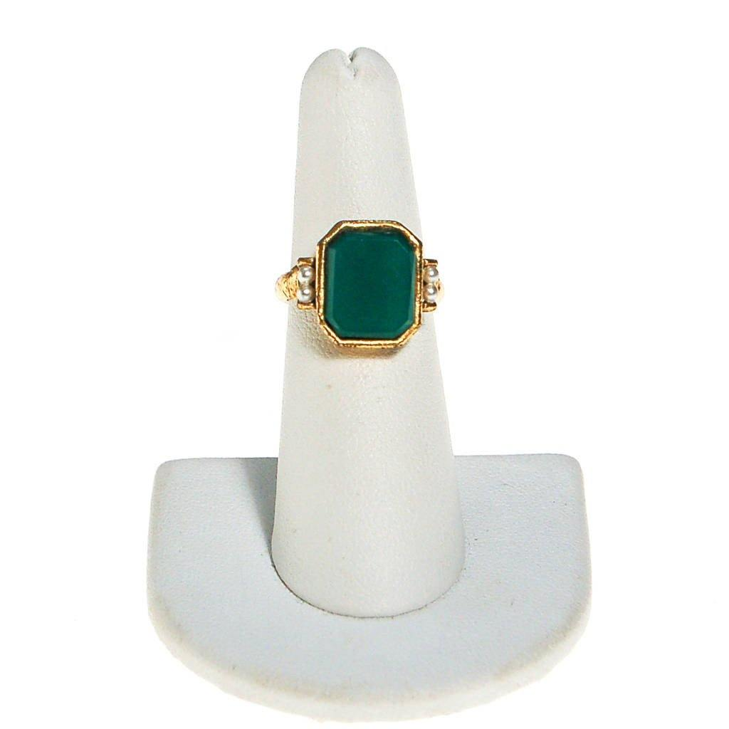 Emerald Green Ring with Pearls, Gold tone, Victorian Revival