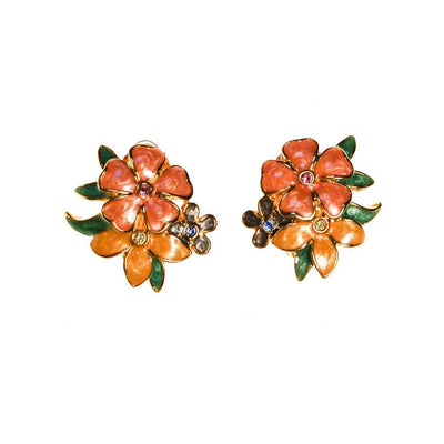 Joan Rivers Pink, Peach, Yellow Flower with Rhinestones Earrings by Joan Rivers - Vintage Meet Modern Vintage Jewelry - Chicago, Illinois - #oldhollywoodglamour #vintagemeetmodern #designervintage #jewelrybox #antiquejewelry #vintagejewelry