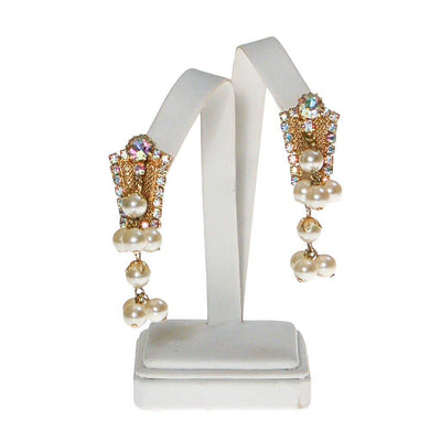 Dangling Pearl and Aurora Borealis Rhinestone Earrings by 1960s - Vintage Meet Modern - Chicago, Illinois