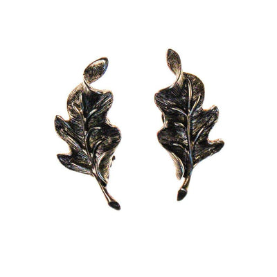 Oscar de la Renta Silver Leaf Earrings by Oscar de la Renta - Vintage Meet Modern - Chicago, Illinois