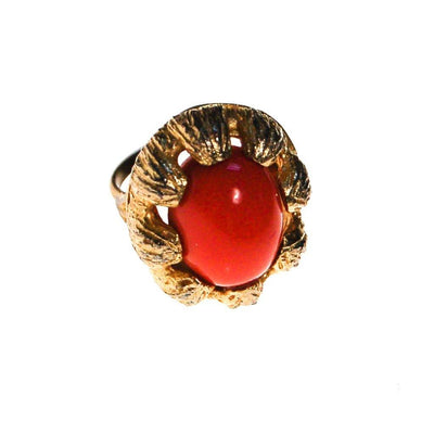 Coral Cabochon Gold Tone Statement Ring by 1960s - Vintage Meet Modern Vintage Jewelry - Chicago, Illinois - #oldhollywoodglamour #vintagemeetmodern #designervintage #jewelrybox #antiquejewelry #vintagejewelry