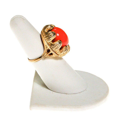 Coral Cabochon Gold Tone Statement Ring by 1960s - Vintage Meet Modern - Chicago, Illinois