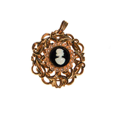 Petite Gold Tone Cameo Pendant Necklace by West Germany - Vintage Meet Modern Vintage Jewelry - Chicago, Illinois - #oldhollywoodglamour #vintagemeetmodern #designervintage #jewelrybox #antiquejewelry #vintagejewelry