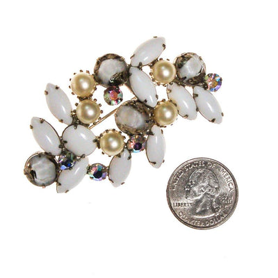 Milk Glass, Faux Pearls, and Aurora Borealis Rhinestone Brooch by 1950s - Vintage Meet Modern - Chicago, Illinois