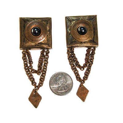 Huge Brass Stamped Statement Earrings by unsigned - Vintage Meet Modern Vintage Jewelry - Chicago, Illinois - #oldhollywoodglamour #vintagemeetmodern #designervintage #jewelrybox #antiquejewelry #vintagejewelry
