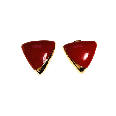 Monet Red and Gold Triangle Clip Earrings, Designer Vintage Jewelry by Monet - Vintage Meet Modern - Chicago, Illinois