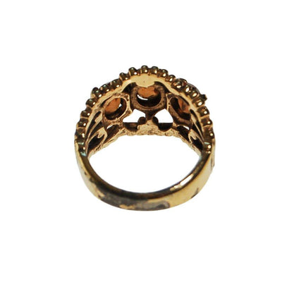 Smokey Topaz Crystal Three Stone Wide Band Ring by unsigned - Vintage Meet Modern Vintage Jewelry - Chicago, Illinois - #oldhollywoodglamour #vintagemeetmodern #designervintage #jewelrybox #antiquejewelry #vintagejewelry