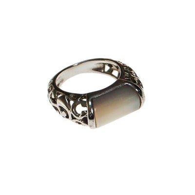 Mother of Pearl, Silver Filigree Cutwork, Band Ring, Ring Size 5.5 by unsigned - Vintage Meet Modern Vintage Jewelry - Chicago, Illinois - #oldhollywoodglamour #vintagemeetmodern #designervintage #jewelrybox #antiquejewelry #vintagejewelry