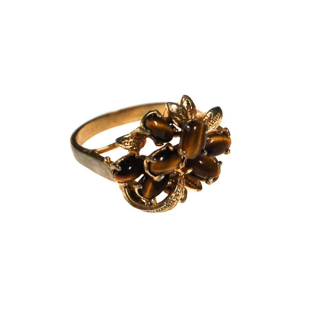 Tigers Eye Cluster Statement Ring