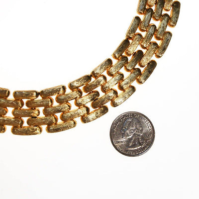 Givenchy Couture Wide Gold Flat Link Chain Necklace by Givenchy - Vintage Meet Modern - Chicago, Illinois