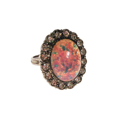 Sterling Silver and Fire Opal Statement Ring by Art Deco - Vintage Meet Modern Vintage Jewelry - Chicago, Illinois - #oldhollywoodglamour #vintagemeetmodern #designervintage #jewelrybox #antiquejewelry #vintagejewelry