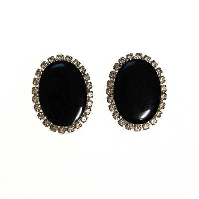 Jet Black and Rhinestone Clip On Earrings, Oval Shape, Designer Vintage Jewelry by unsigned - Vintage Meet Modern - Chicago, Illinois