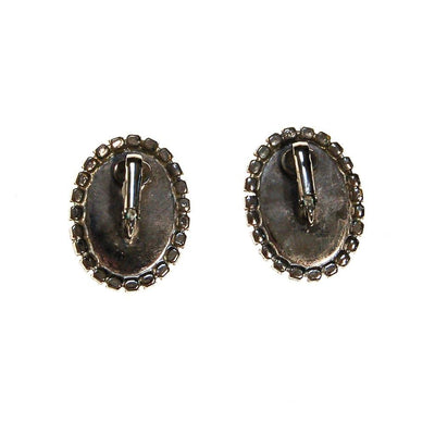 Jet Black and Rhinestone Clip On Earrings, Oval Shape, Designer Vintage Jewelry by unsigned - Vintage Meet Modern Vintage Jewelry - Chicago, Illinois - #oldhollywoodglamour #vintagemeetmodern #designervintage #jewelrybox #antiquejewelry #vintagejewelry