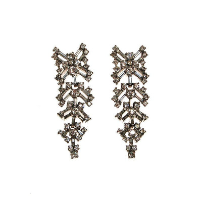 Fabulous 1930s Rhinestone Chandelier Waterfall Dangling Drop Earrings, Clip On by unsigned - Vintage Meet Modern Vintage Jewelry - Chicago, Illinois - #oldhollywoodglamour #vintagemeetmodern #designervintage #jewelrybox #antiquejewelry #vintagejewelry