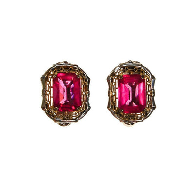 Pink Crystal, 18kt Gold, Sterling Silver Art Deco Era Earrings by unsigned - Vintage Meet Modern Vintage Jewelry - Chicago, Illinois - #oldhollywoodglamour #vintagemeetmodern #designervintage #jewelrybox #antiquejewelry #vintagejewelry