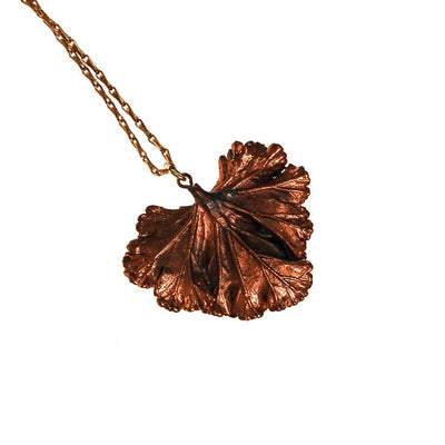 Copper Ginkgo Leaf Necklace by unsigned - Vintage Meet Modern Vintage Jewelry - Chicago, Illinois - #oldhollywoodglamour #vintagemeetmodern #designervintage #jewelrybox #antiquejewelry #vintagejewelry