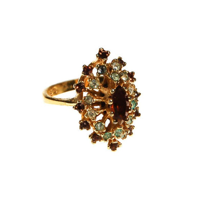 Smokey Topaz Crystal And CZ Cocktail Ring by unsigned - Vintage Meet Modern Vintage Jewelry - Chicago, Illinois - #oldhollywoodglamour #vintagemeetmodern #designervintage #jewelrybox #antiquejewelry #vintagejewelry
