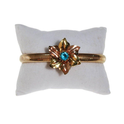 Rose and Yellow Gold Tone Bracelet with Blue Rhinestone Flower by PS Co - Vintage Meet Modern Vintage Jewelry - Chicago, Illinois - #oldhollywoodglamour #vintagemeetmodern #designervintage #jewelrybox #antiquejewelry #vintagejewelry