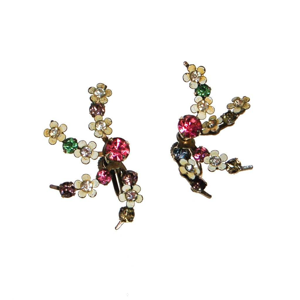 1940s Colorful Pastel Rhinestone and White Flower Spray Style Earrings