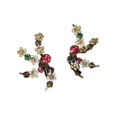 1940s Colorful Pastel Rhinestone and White Flower Spray Style Earrings by unsigned - Vintage Meet Modern Vintage Jewelry - Chicago, Illinois - #oldhollywoodglamour #vintagemeetmodern #designervintage #jewelrybox #antiquejewelry #vintagejewelry