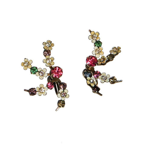 1940s Art Deco Diamante and Garnet Crystal Drop Earrings
