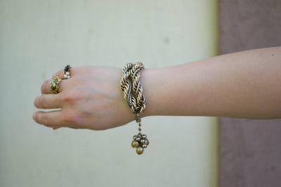 Thick Gold Chain Bracelet with Gold Beads that Dangle by unsigned - Vintage Meet Modern - Chicago, Illinois