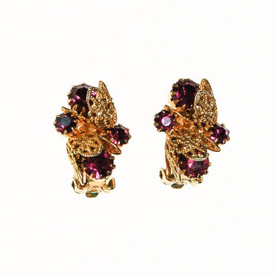 Purple Rhinestone and Gold Filigree Leaf Earrings, Clip On by unsigned - Vintage Meet Modern Vintage Jewelry - Chicago, Illinois - #oldhollywoodglamour #vintagemeetmodern #designervintage #jewelrybox #antiquejewelry #vintagejewelry