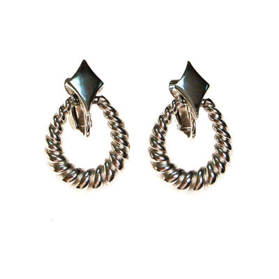 Crown Trifari Silver Cable Style Drop Earrings by Crown Trifari - Vintage Meet Modern - Chicago, Illinois