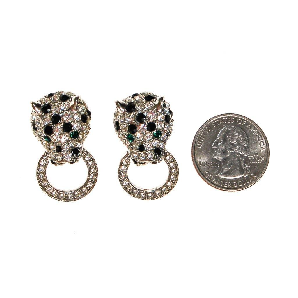 Kenneth Jay Lane, Duchess Collection Panther Earrings, Rhinestones, Door Knocker, Silver,Clip On, Collectible, Designer Vintage Jewelry