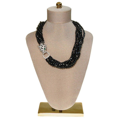 Kenneth Lane  Vintage Panther Collection Black Jet Torsade Necklace by Kenneth Jay Lane - Vintage Meet Modern - Chicago, Illinois