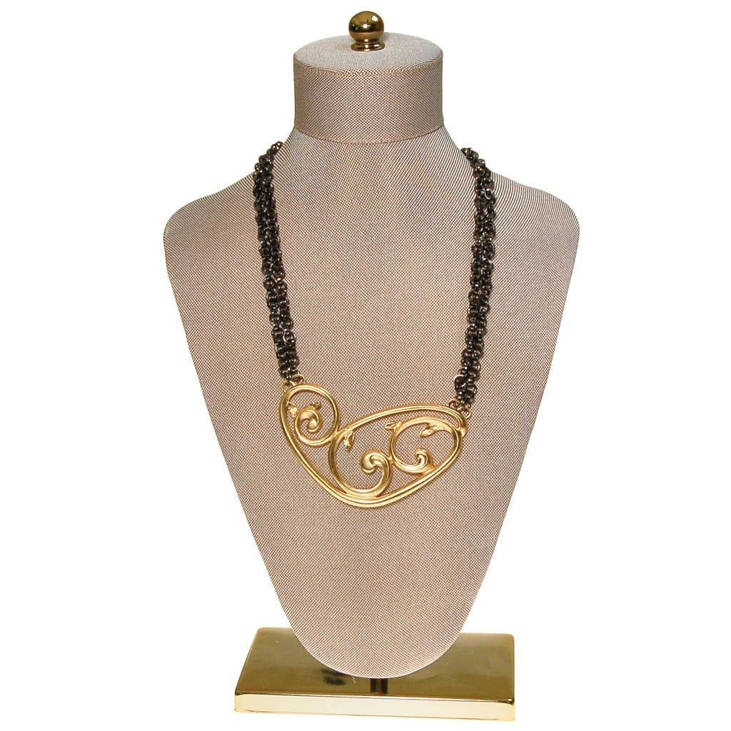 Rare Yves Saint Laurent Gold and Gunmetal Modernist Statement Necklace, Signed Number