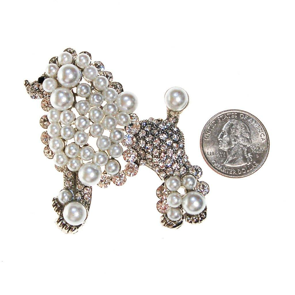 Pearl and Rhinestone Poodle Brooch