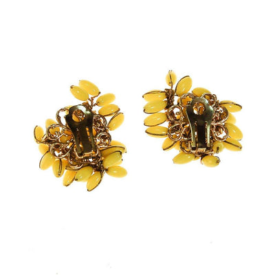 Yellow and Rhinestone Earrings, Ear Crawler by unsigned - Vintage Meet Modern Vintage Jewelry - Chicago, Illinois - #oldhollywoodglamour #vintagemeetmodern #designervintage #jewelrybox #antiquejewelry #vintagejewelry
