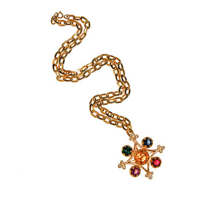 YSL Colorful Crystal Cross Statement Necklace by Yves Saint Laurent - Vintage Meet Modern - Chicago, Illinois