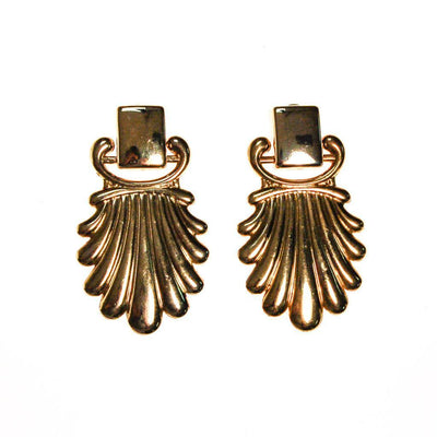 Massive Gold Fan Door Knocker Statement Earrings by 1970s - Vintage Meet Modern Vintage Jewelry - Chicago, Illinois - #oldhollywoodglamour #vintagemeetmodern #designervintage #jewelrybox #antiquejewelry #vintagejewelry