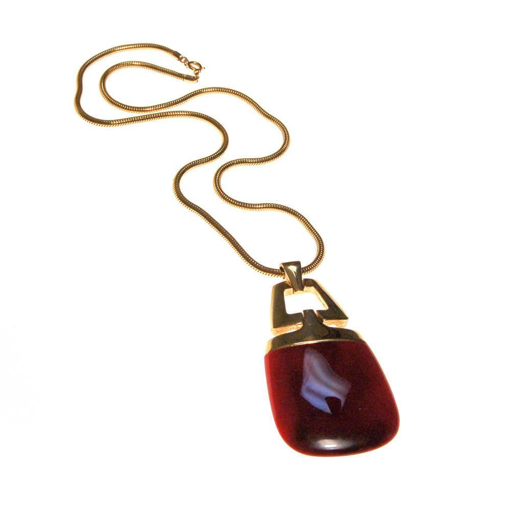 Crown Trifari Modernist Pendant Necklace with Red Lucite