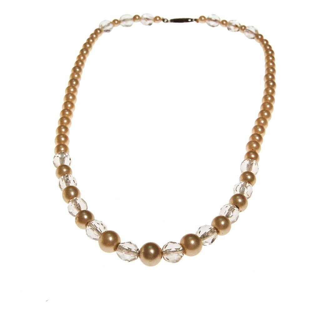 Art Deco Era Faux Pearl and Faceted Crystal Beaded Necklace