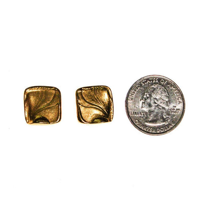 Crown Trifari Gold Tone Petite Square Earrings by Crown Trifari - Vintage Meet Modern Vintage Jewelry - Chicago, Illinois - #oldhollywoodglamour #vintagemeetmodern #designervintage #jewelrybox #antiquejewelry #vintagejewelry