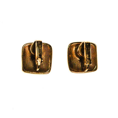Crown Trifari Gold Tone Petite Square Earrings by Crown Trifari - Vintage Meet Modern - Chicago, Illinois