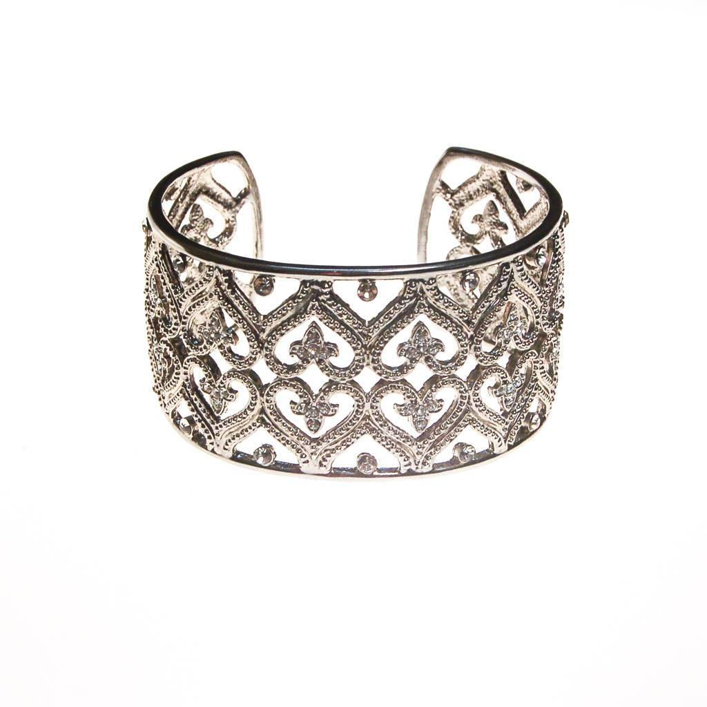 Wide Silver Filigree Cuff with Cubic Zirconias